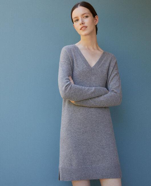 Kleid aus Kaschmir Grau
