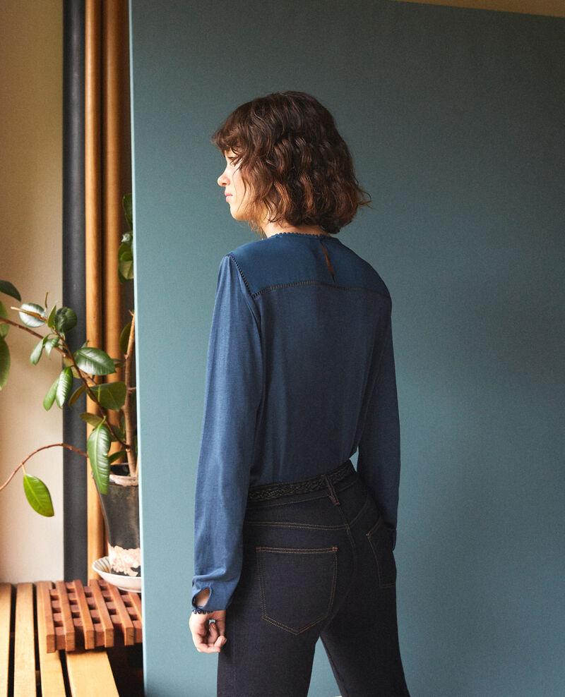 T-Shirt aus Bimaterial mit Troddeldetails Majolica blue Glivoire
