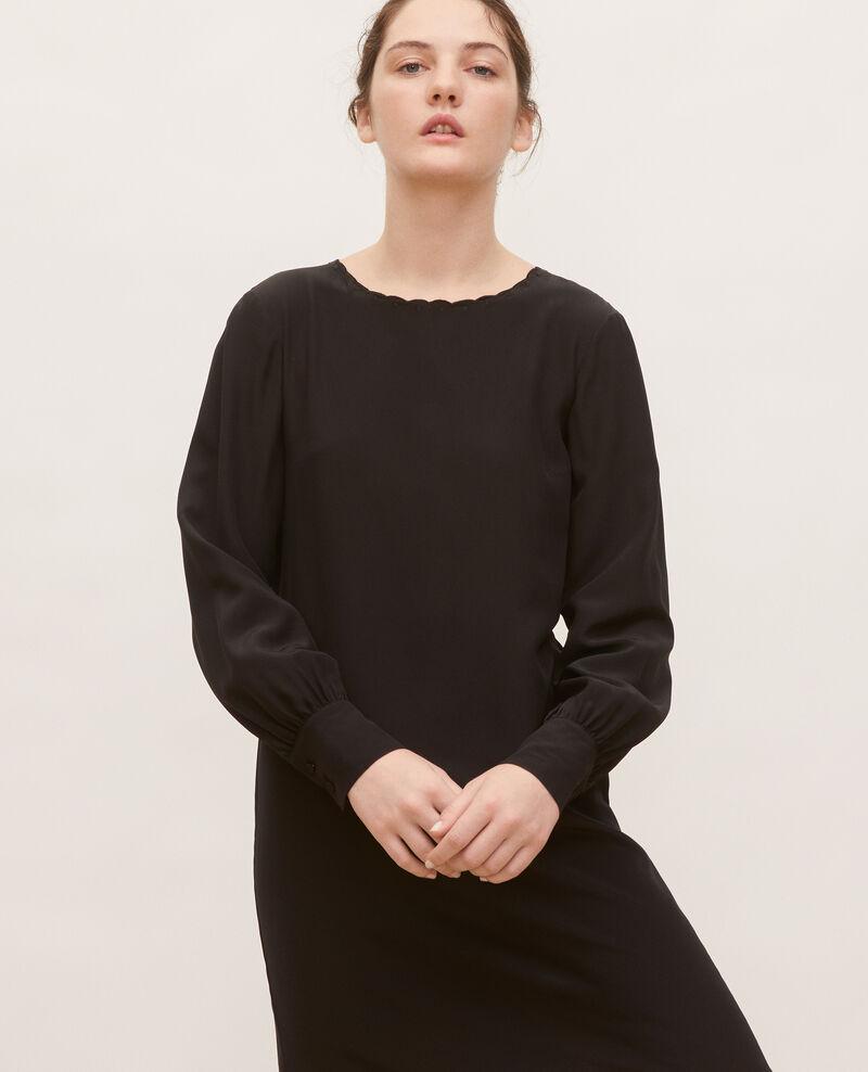 Kurzes und weites Seidenkleid Black beauty Lamax