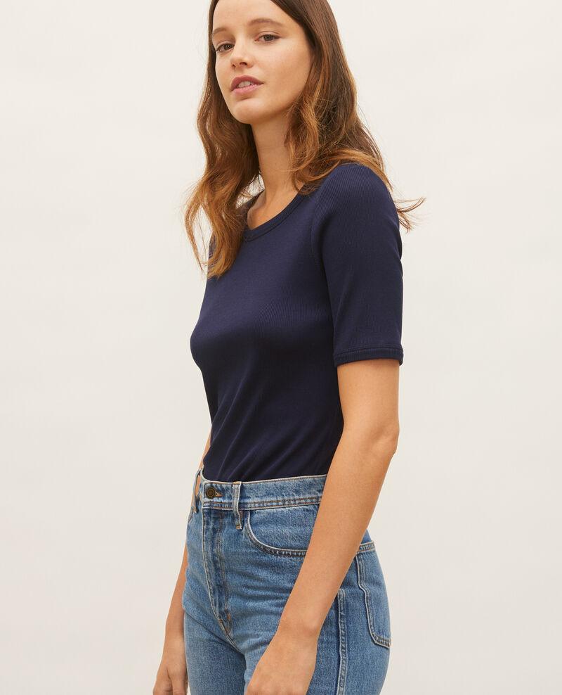 T-Shirt mit feinem Rippstrick aus merzerisierter Baumwolle Maritime blue Lasso