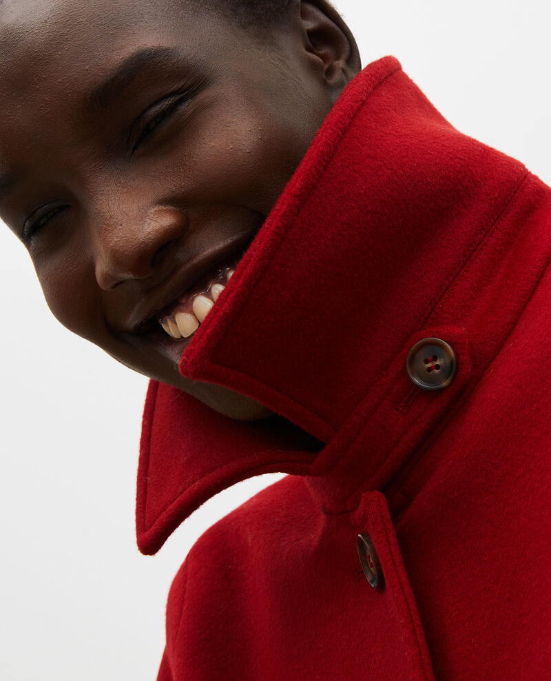 Ausgestellter Mantel aus Wolle und Kaschmir Royale red Madriat