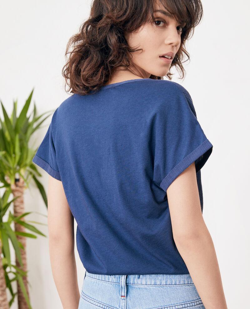 T-Shirt aus Bimaterial Indigo Fara