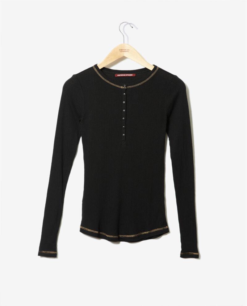 T-Shirt mit Knopfleiste Schwarz Grila