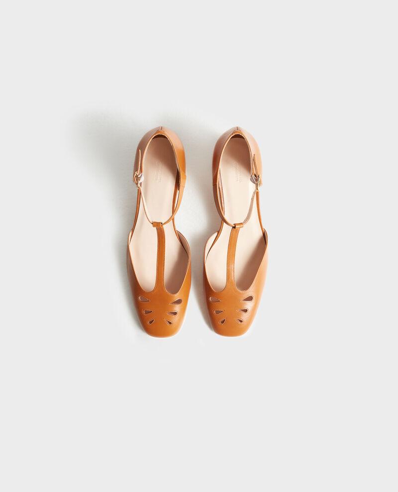 Salome-Schuhe aus Leder Camel Pegeve