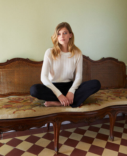Pullover aus Zierstrick 100% Merinowolle OFF WHITE