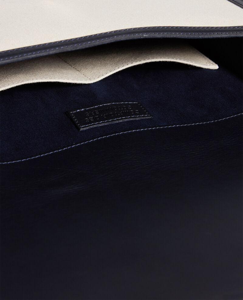 Tasche mit Klappe aus Stoff und Leder Gardenia maritime blue Lettre