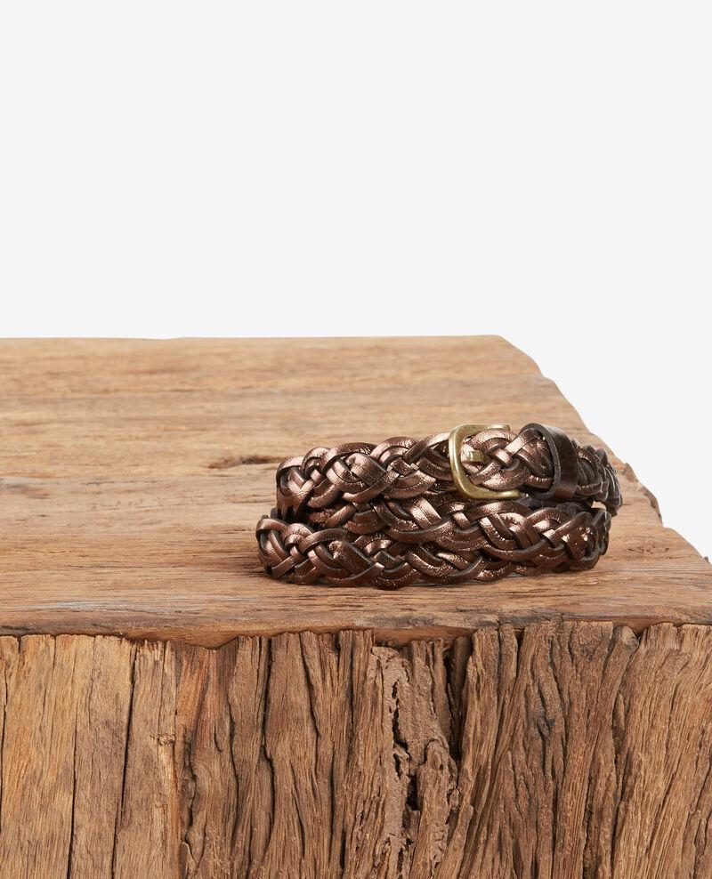 Flechtgürtel aus Leder Marron cuivre Fronce