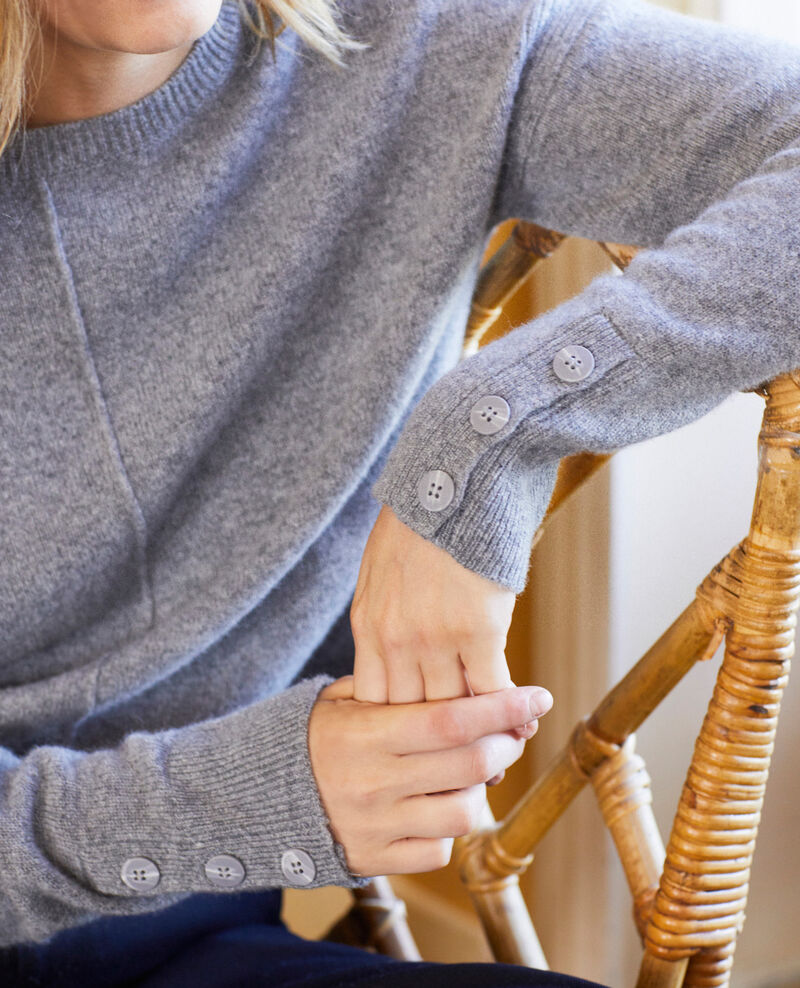 Pullover mit Knöpfen an den Ärmeln 100 % Kaschmir Light grey Jypie