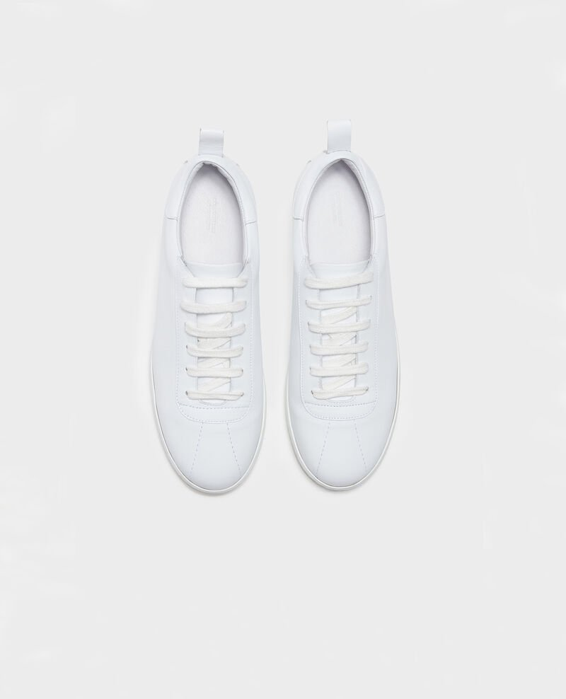 Ledersneaker mit Schnürsenkeln Optical white Lead