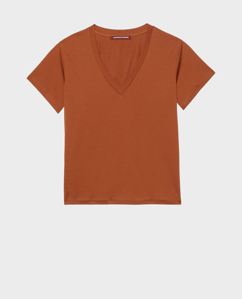 Kurzärmeliges T-Shirt aus Baumwolle mit V-Ausschnitt Tortoise shell Laberne