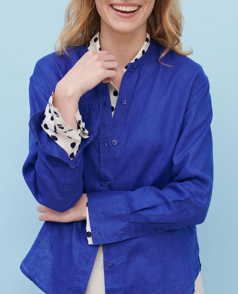 Hemd ohne Kragen aus Leinen Royal blue Nawak
