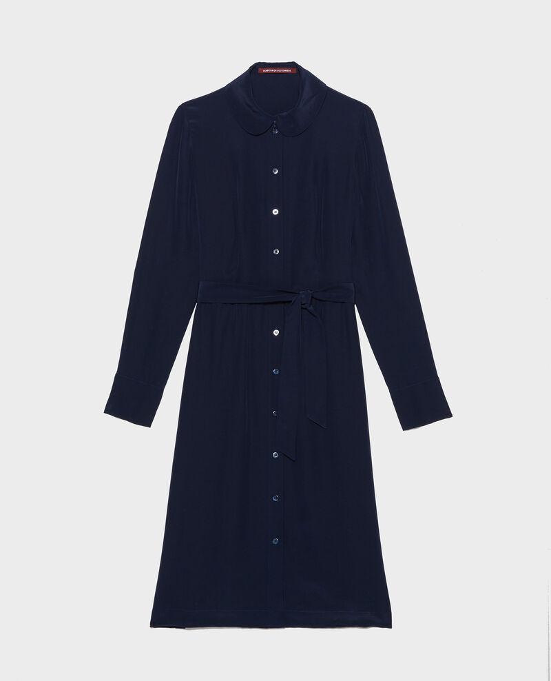 Hemdkleid aus Seide mit Gürtel und Rundkragen Maritime blue Lolita