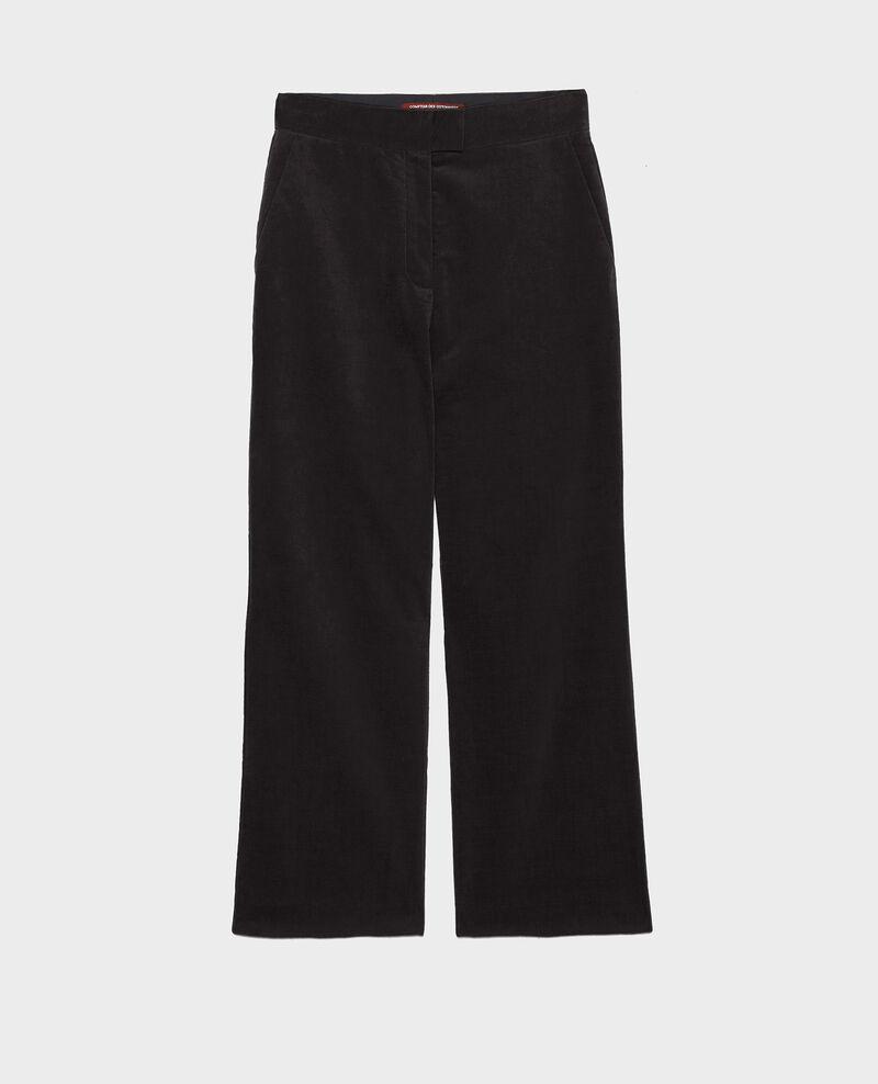 Flare Samthose mit hoher Taille und 7/8-Länge Black beauty Marousseau