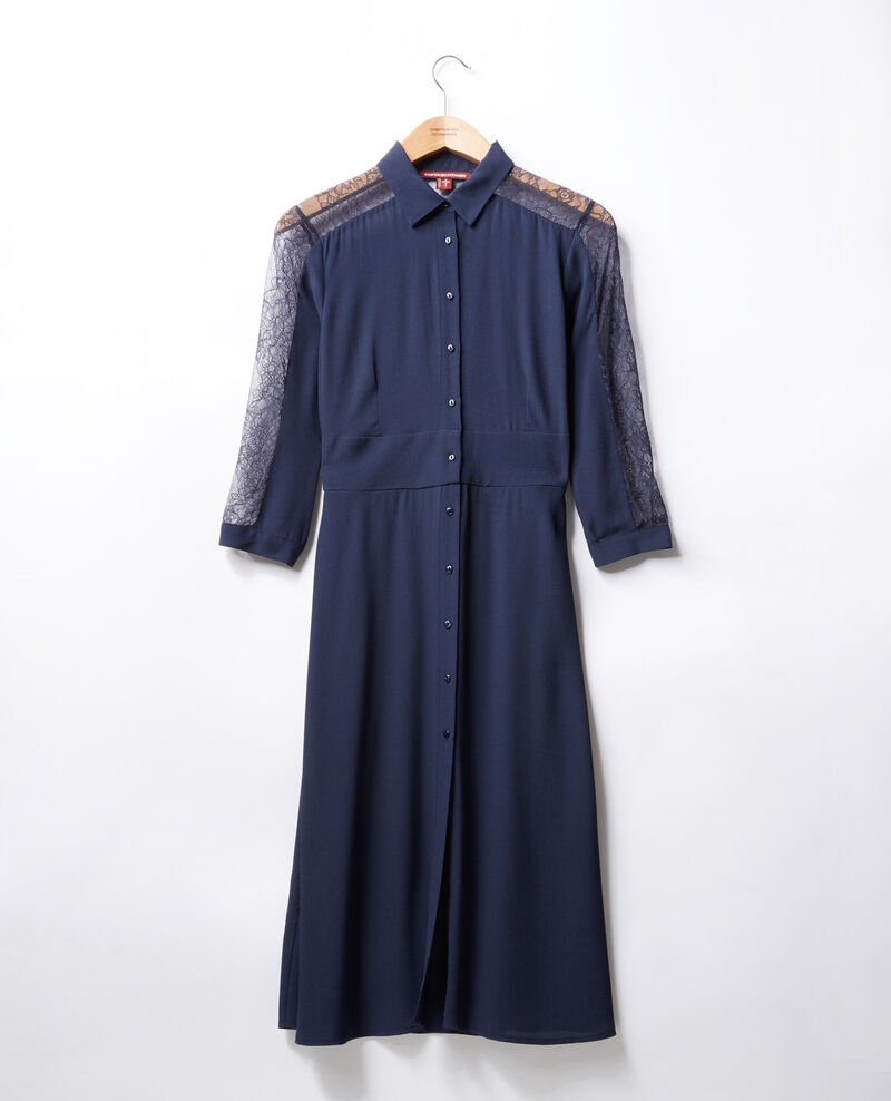 Kleid mit Spitze Blau Forte