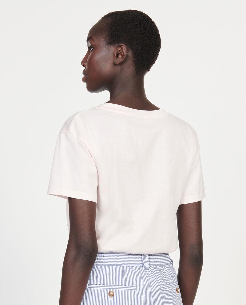 Kurzärmeliges T-Shirt aus Baumwolle mit V-Ausschnitt Primrose pink Laberne