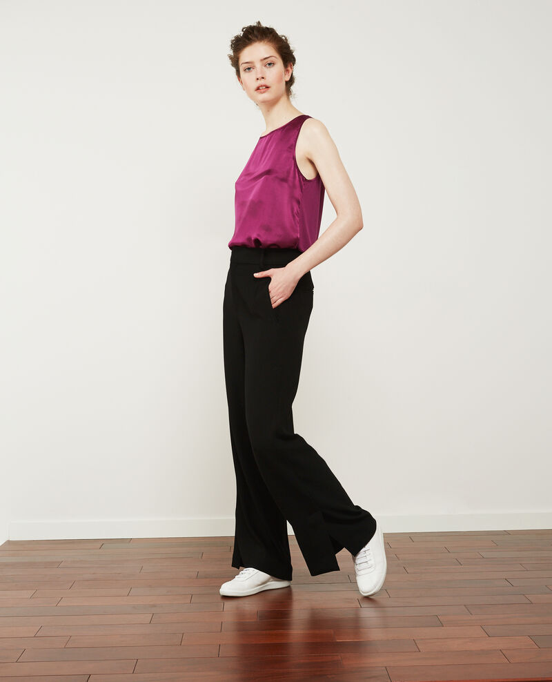 Weite Hose aus schwerem Krepp Noir Damorino