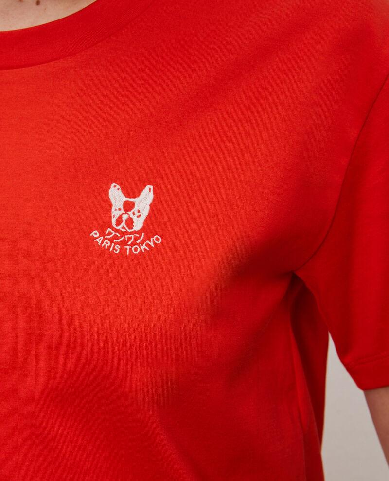 Besticktes T-Shirt aus Baumwolle Spicy orange Nagano