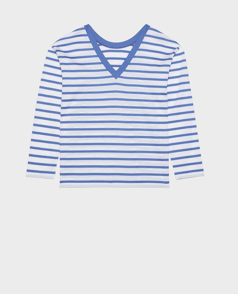 T-Shirt aus ägyptischer Baumwolle Stripes optical white amparo blue Lana