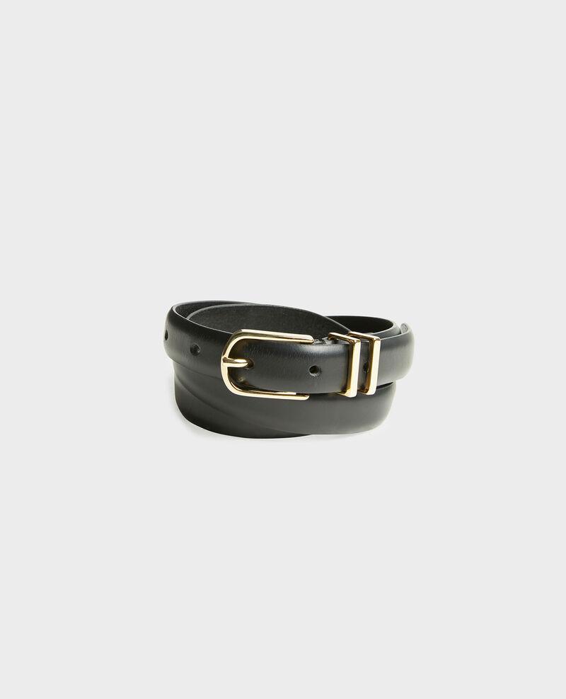 Ledergürtel mit Schnalle und Schlaufen aus vergoldetem Metall Black beauty Mendite
