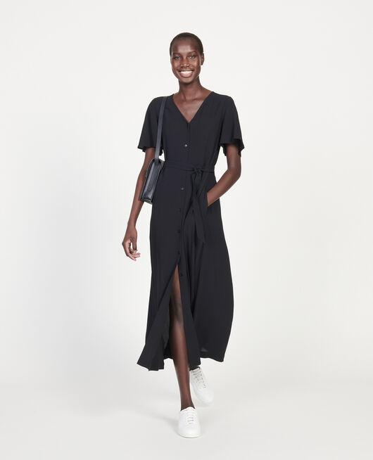 Langes Kleid aus Viskose-Krepp BLACK BEAUTY