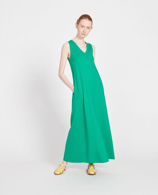 Langes Kleid aus merzerisierter Baumwolle GOLF GREEN