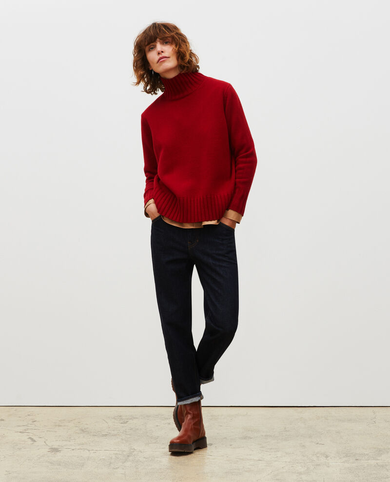Wollpullover mit Stehkragen und breitem Rippstrick Royale red Marques