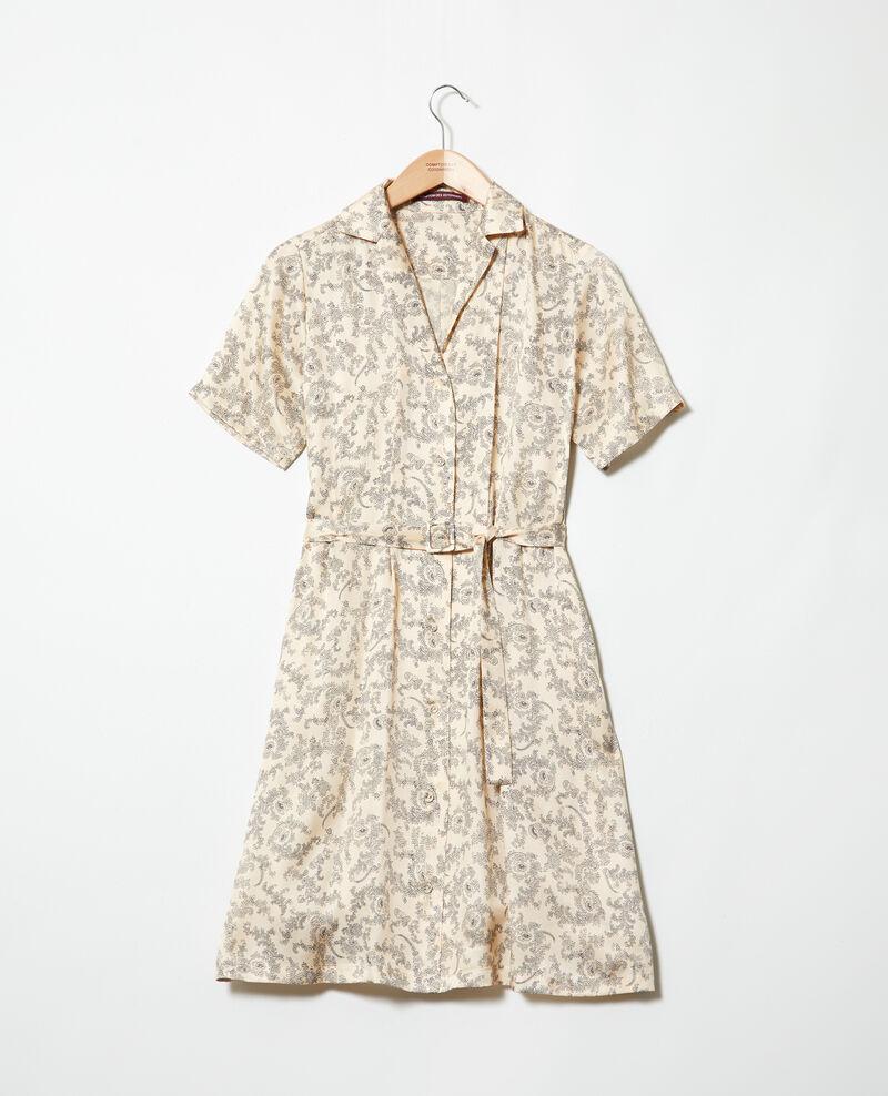 Kleid mit offenem Kragen Bandana light beige Illara