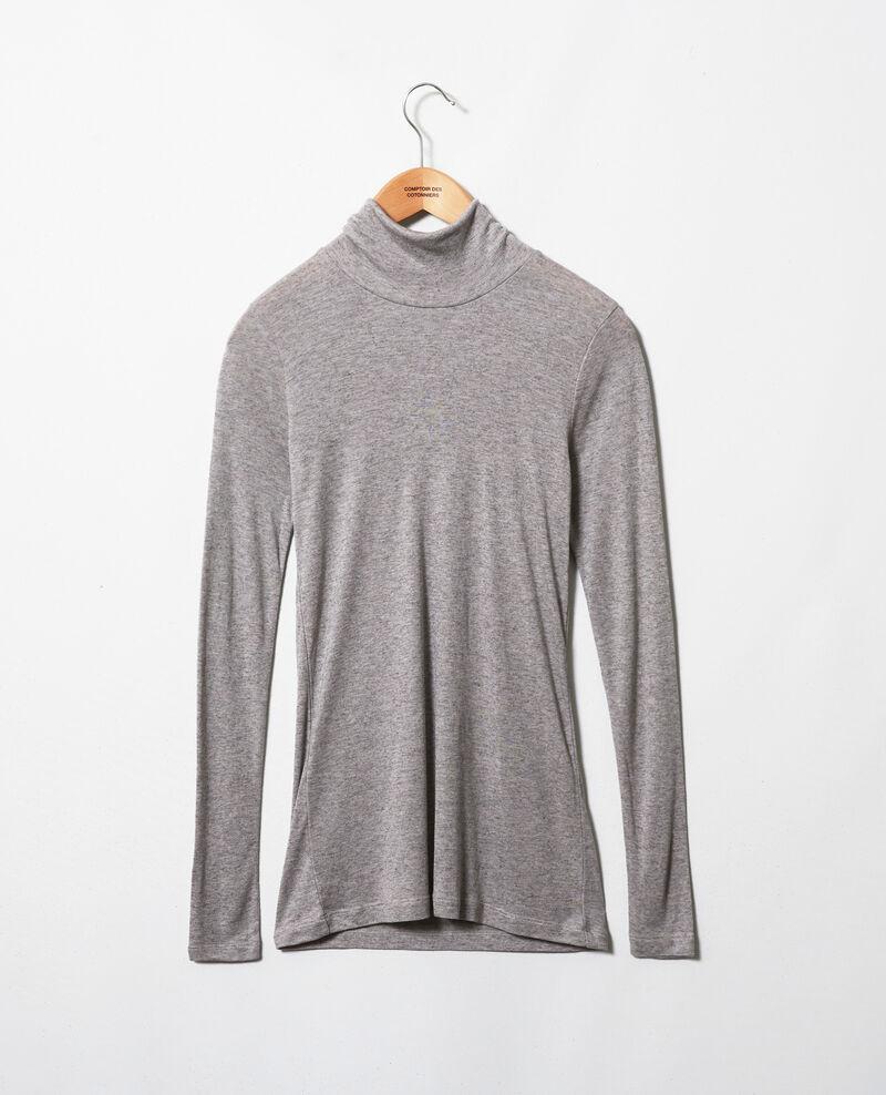 Rollkragen-T-Shirt mit Kaschmir Middle grey melange Jylka