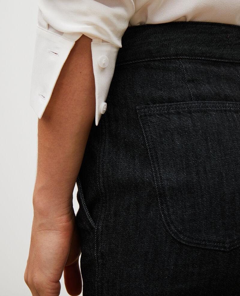 CHINO - Karottenhose aus Denim hohe Taille Noir denim Mozol