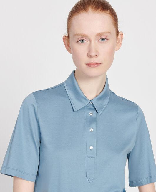 Polo-Shirt aus ägyptischer Baumwolle BLUESTONE