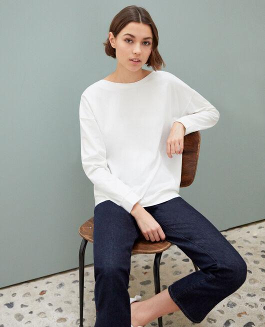 Sweatshirt mit U-Boot-Ausschnitt Blanc