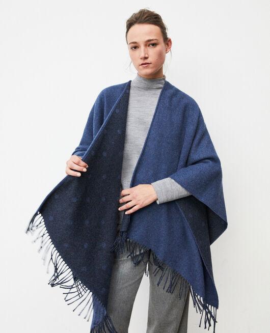 Cape mit Wolle Blau