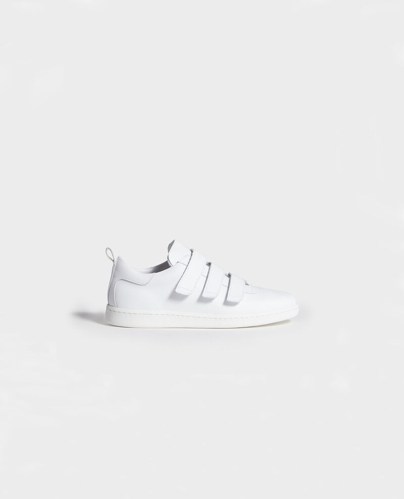 Sneakers aus Leder mit Klettlaschen Optical white Leader