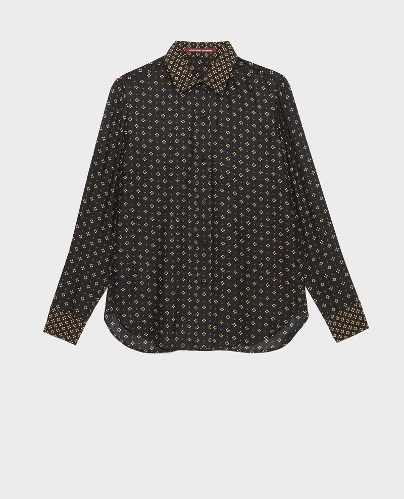 Langärmeliges, maskulines Seidenhemd Print mosaique black Morigesa