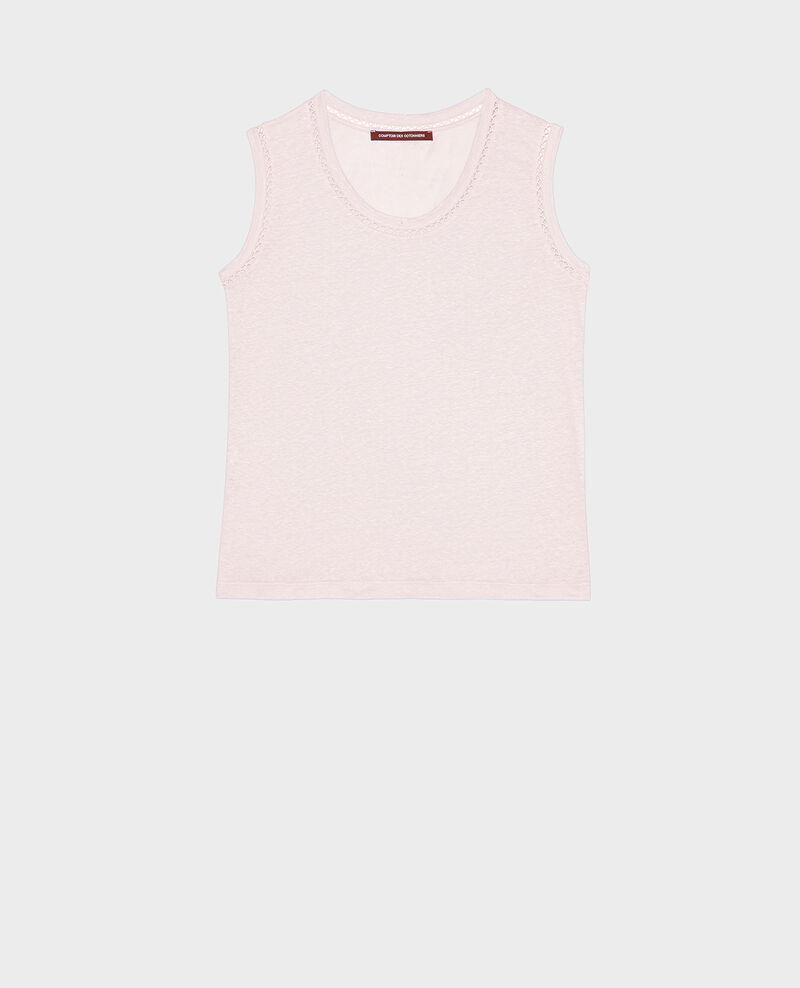 Top mit Ajourmuster aus Jersey-Leinen Primrose pink Lespa