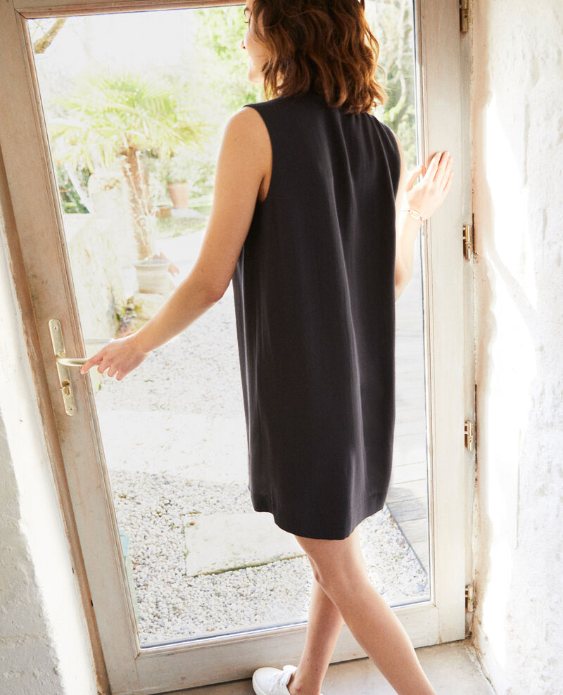 Kleid mit abnehmbarem Band Noir Iolandi