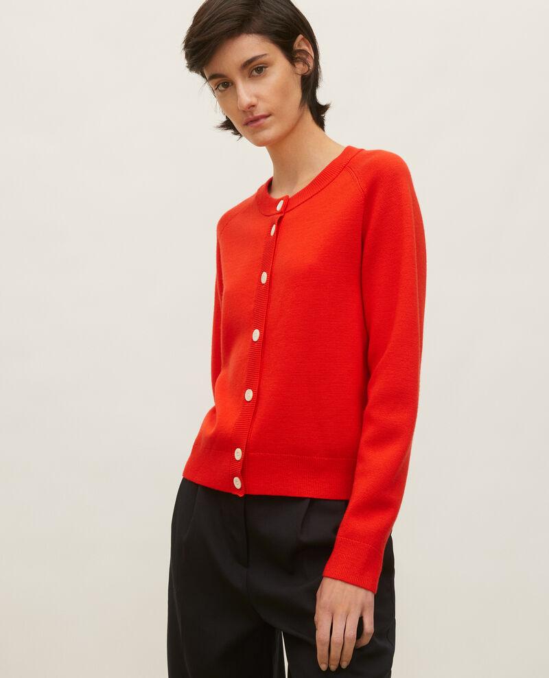 Cardigan mit Rundhalsausschnitt aus Wolle Fiery red Louvres