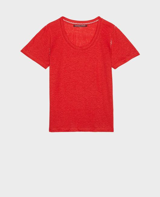T-Shirt aus Leinen FIERY RED