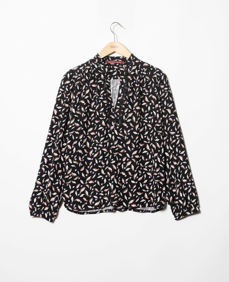 Bluse mit tunesischem Kragen Schwarz Gaela