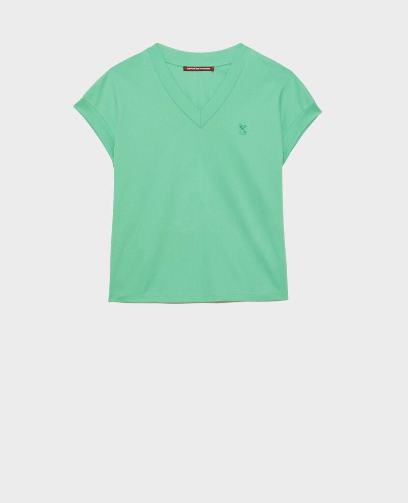 T-Shirt mit V-Ausschnitt aus Bio-Baumwolle Jade cream Nohant