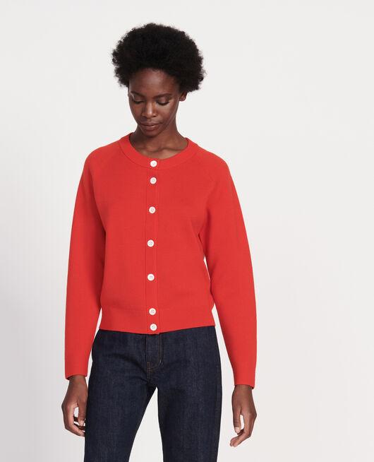 Zeitloser Cardigan aus Wolle FIERY RED