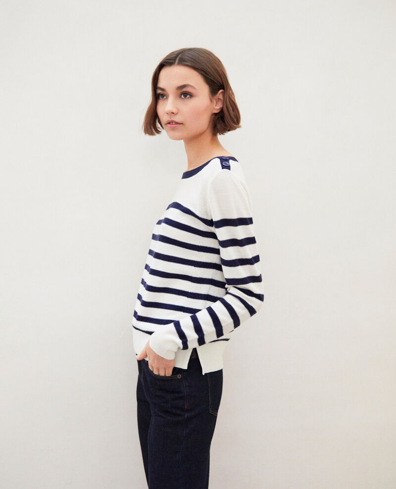 Wollpullover im Marinelook Off white/navy Ibateau