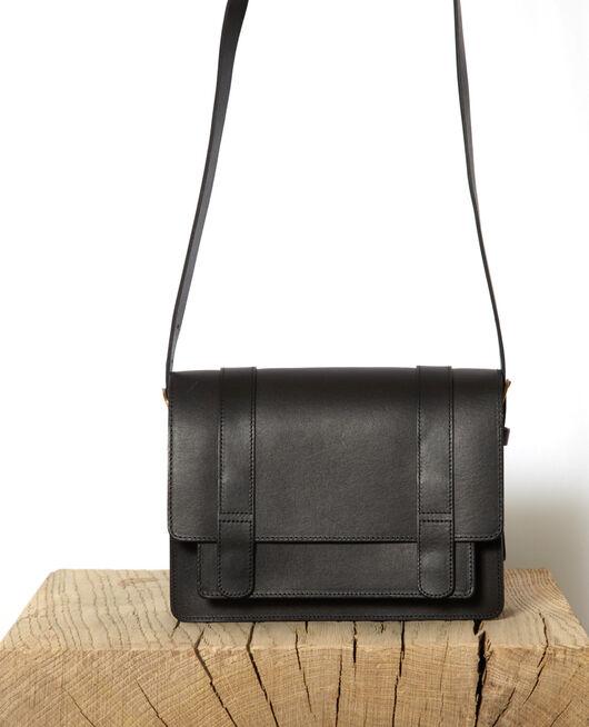 Tasche aus glattem Leder, kleines Modell Noir