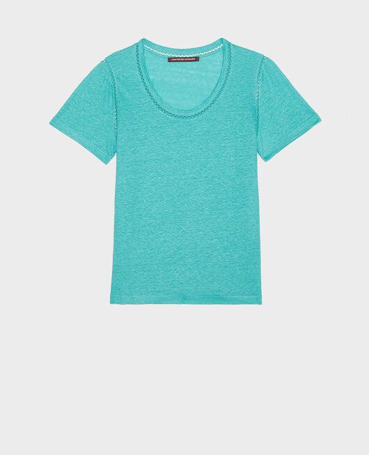 T-Shirt aus Leinen BRIGHT AQUA