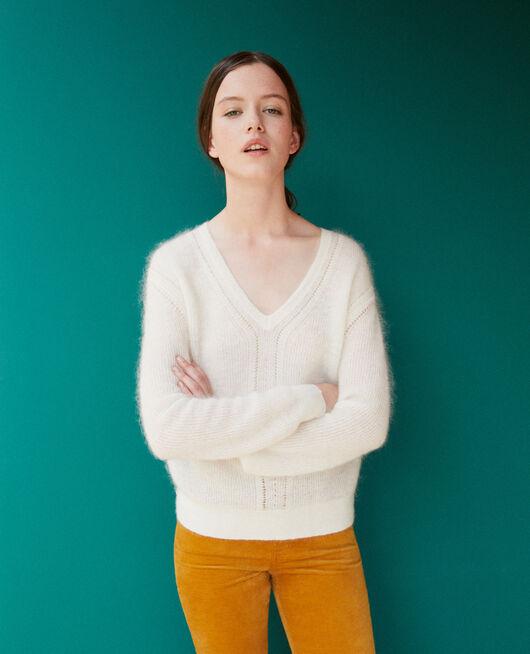 Pullover mit Mohair Weiß