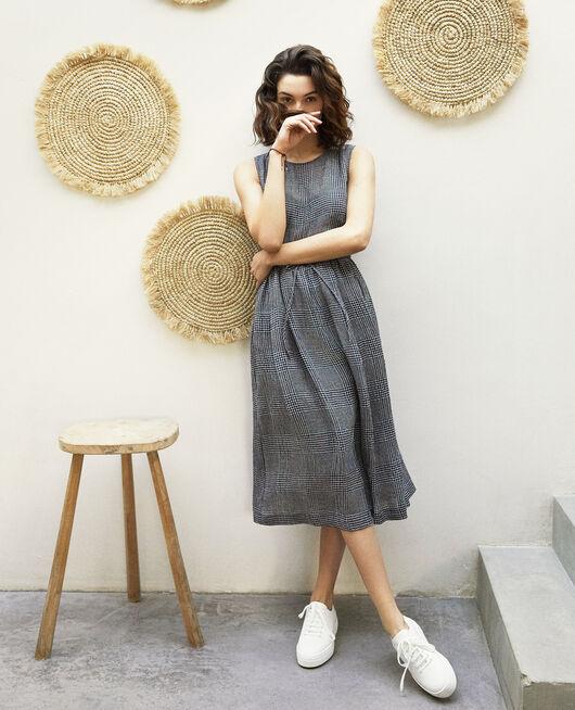 Halblanges Kleid mit Leinen NOIR/BLANC/ROUGE