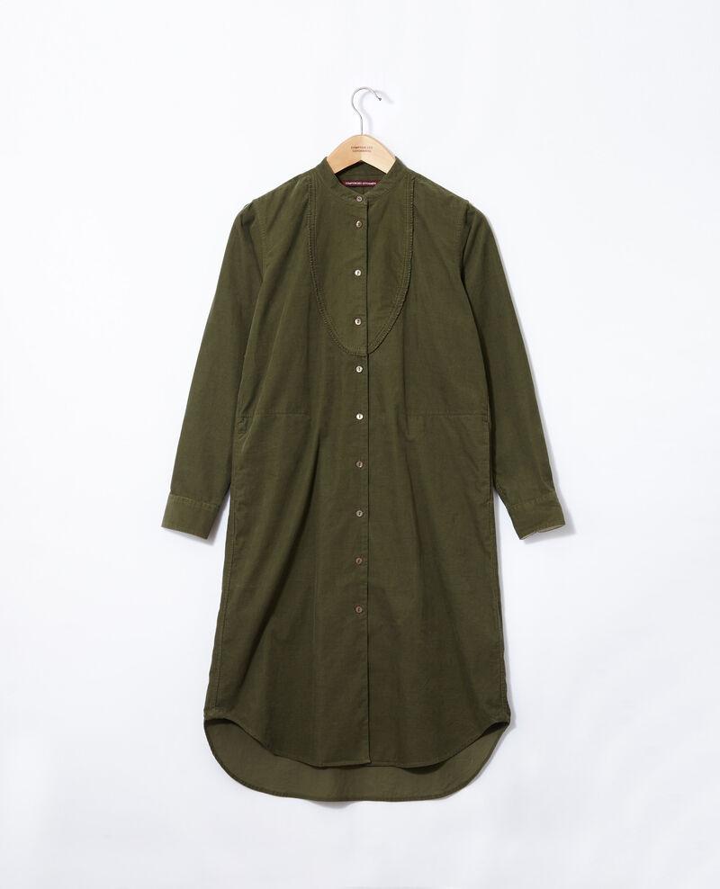 Samtkleid mit Mao-Kragen Grün Goiselle