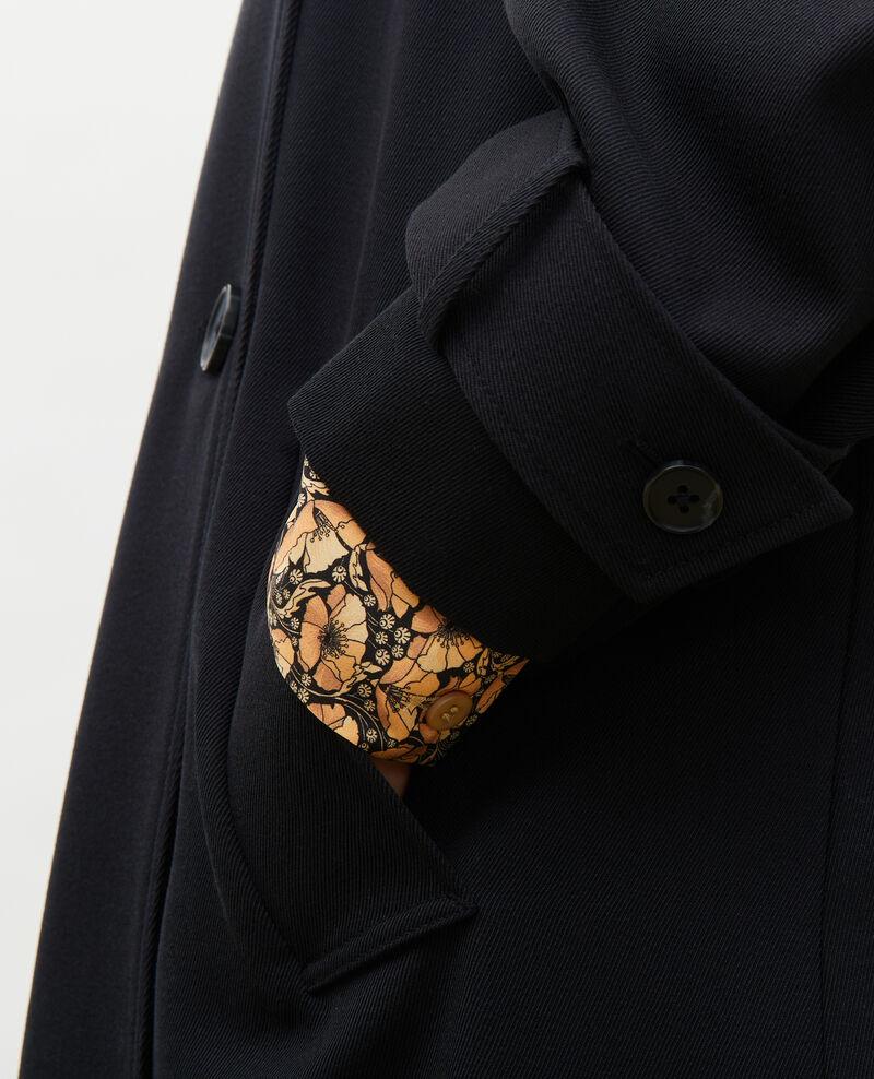 Langer fließender Trenchcoat aus Wolle Black beauty Messimy