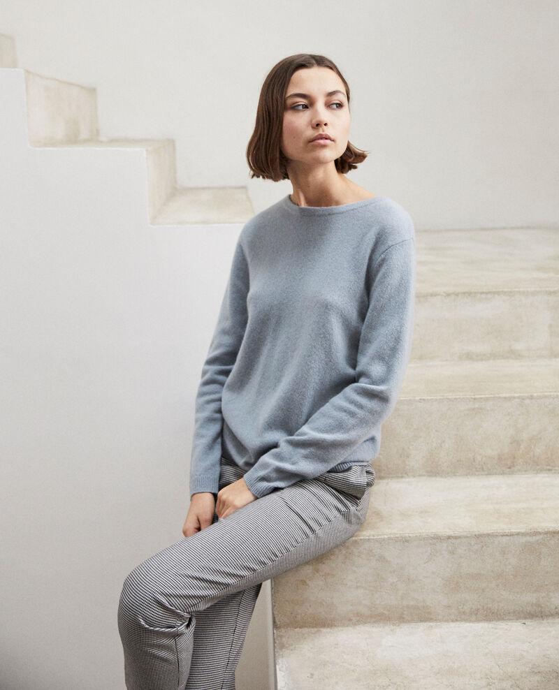 Pullover mit Rundhalsausschnitt aus Mohair Blue mirage Ixela