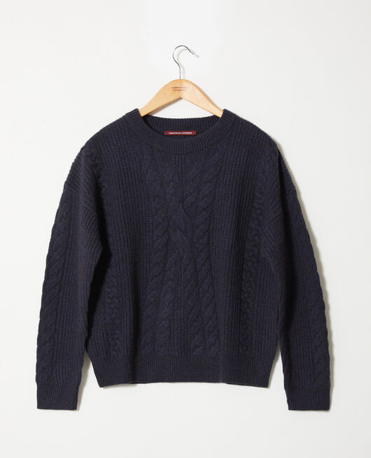 Pullover mit Zopfmuster DARK NAVY